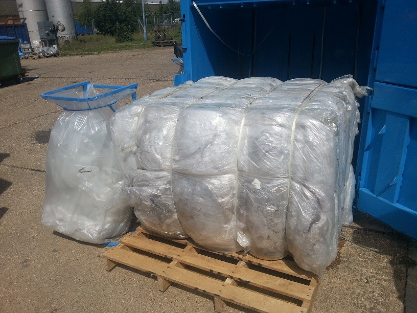 large plastic bale from baler