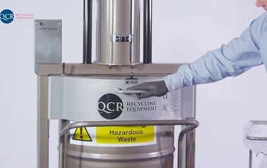 Compacts hazardous waste directly into drum