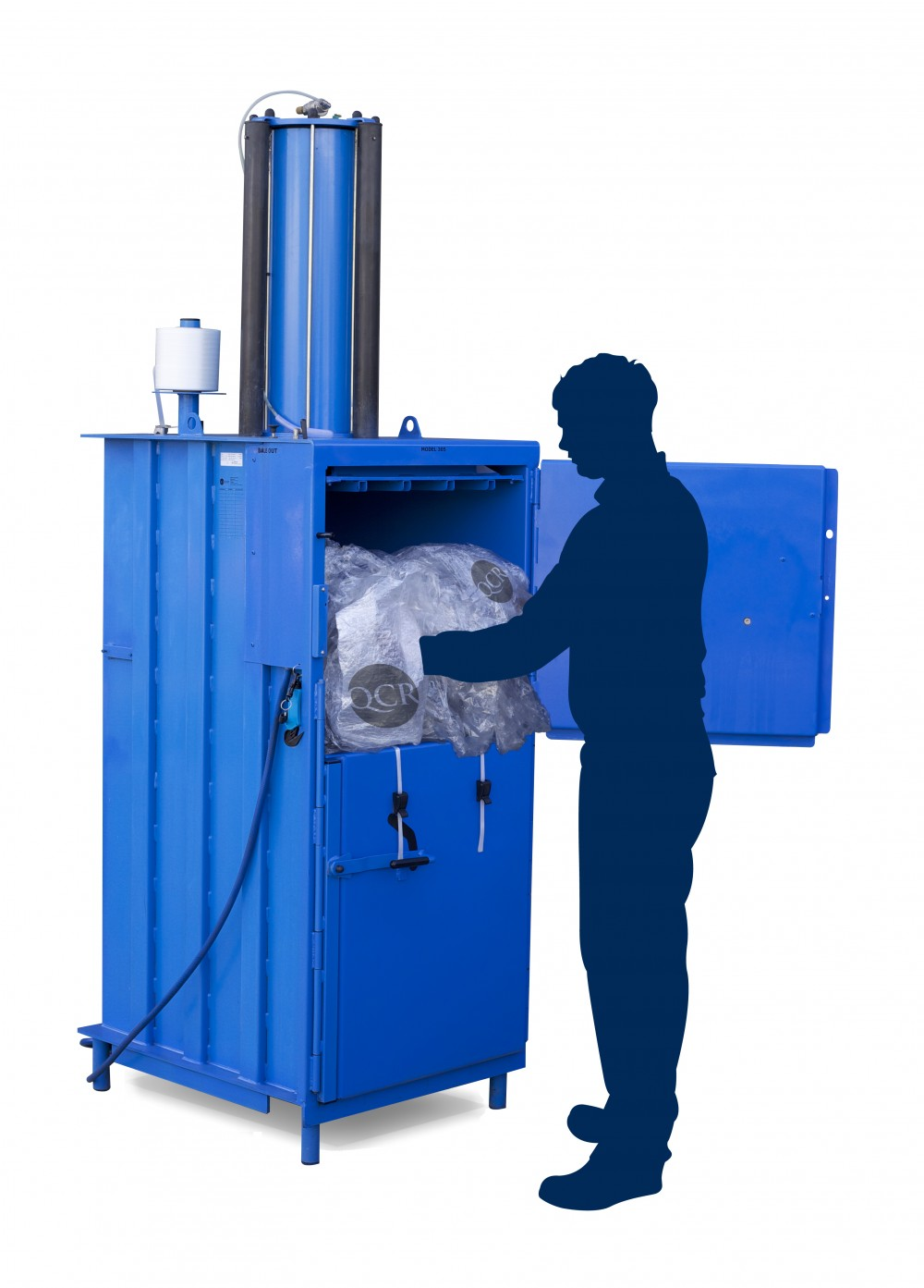 Medium size baler for plastics